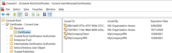 Expand Certificates. Personal. Certificates