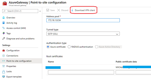 Allow Azure to process the changes then Click Download VPN Client