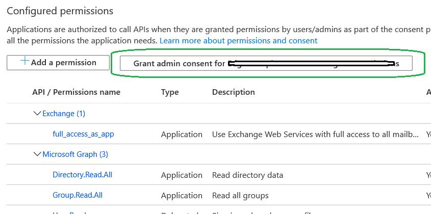 Click Grant Admin Consent