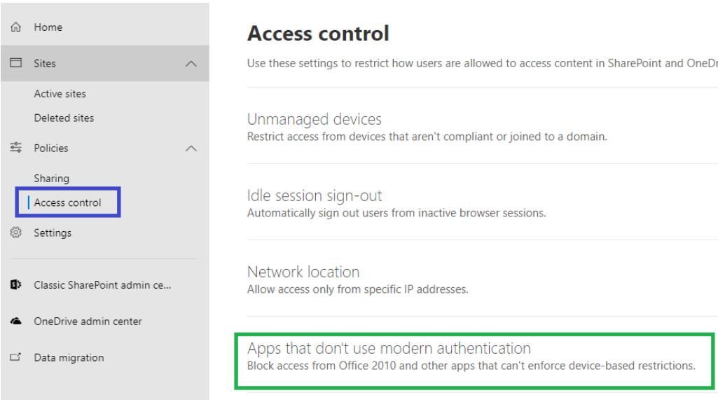 Allow access for Apps that don't use modern authentication