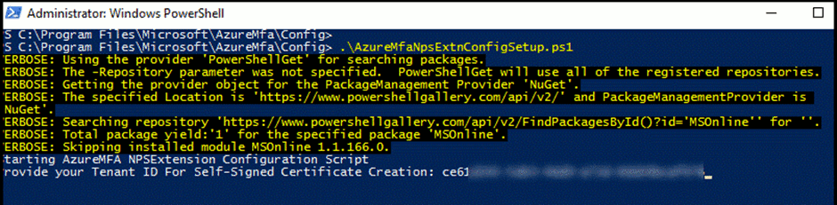Paste the Directory ID into PowerShell
