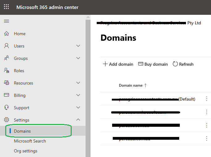 Office365 settings domain