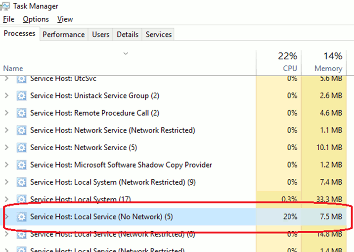 Service Host Local Service High CPU Usage