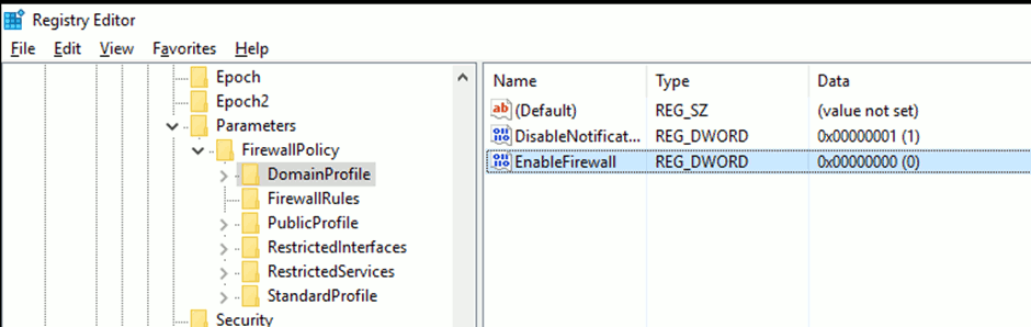 Use Regedit to change FirewallPolicy