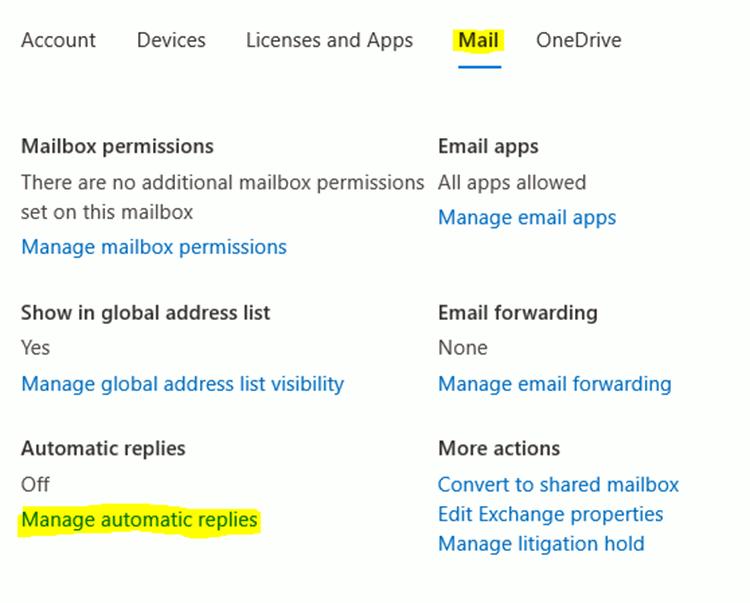 Active User Outlook Mail properties