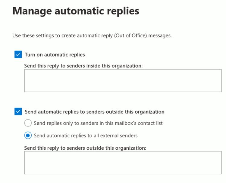 Set up automatic replies