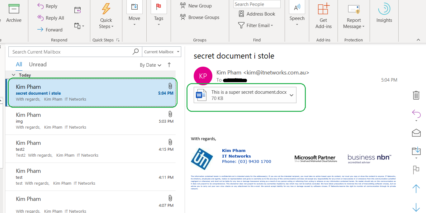 email containing encrypted document