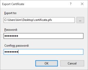 export ssl certificate