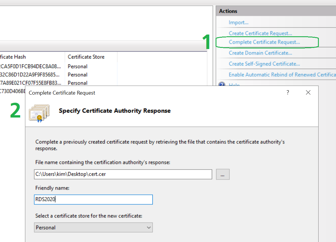 complete the certificate request