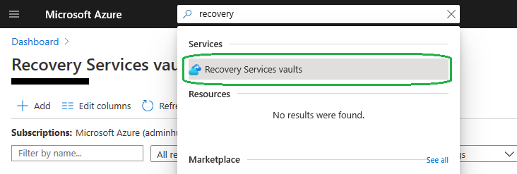 recovery service vault