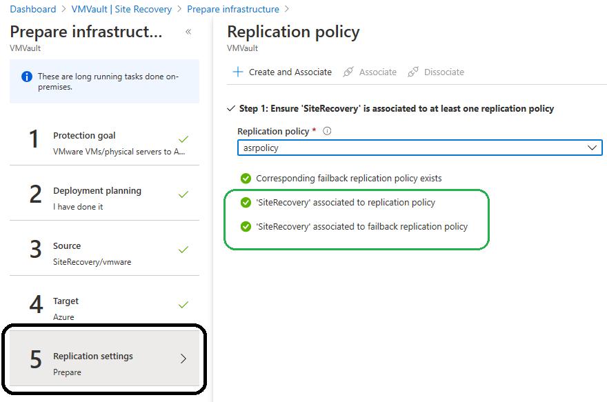 Azure RPO replication settings