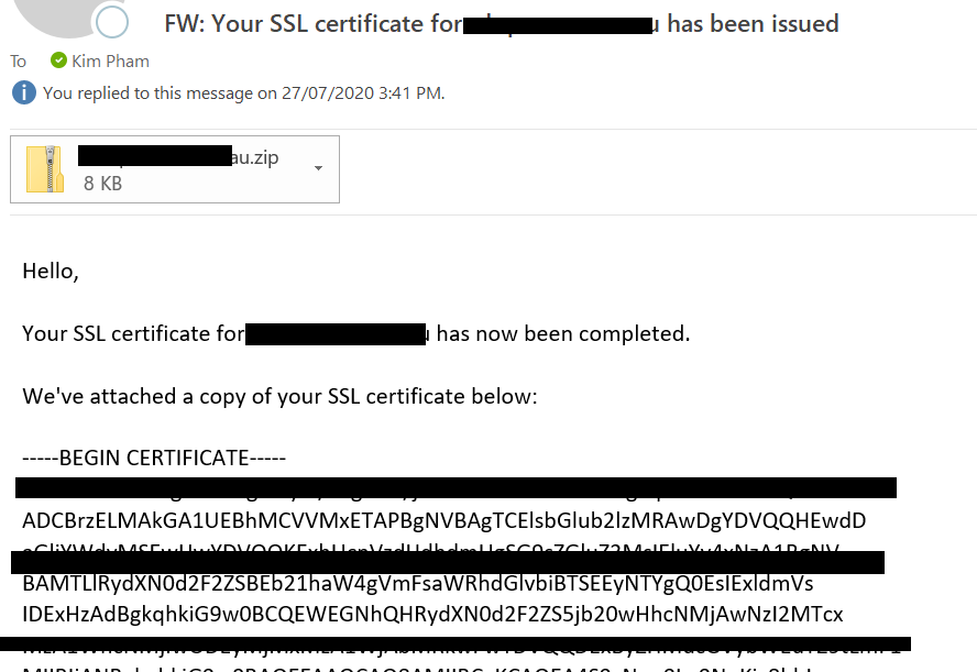 ssl email with new certificate