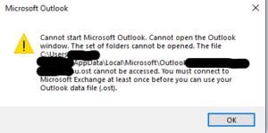 Outlook error for office 2013