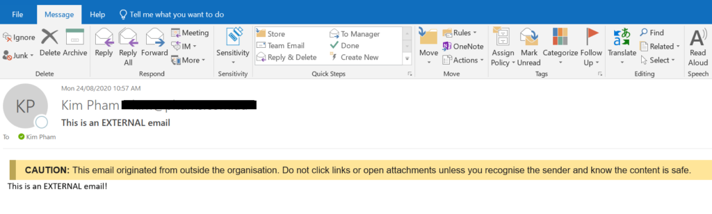 external email email message