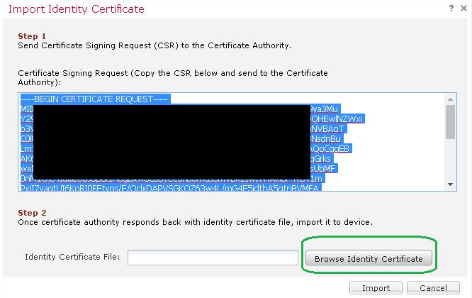 paste SSL certificate into request