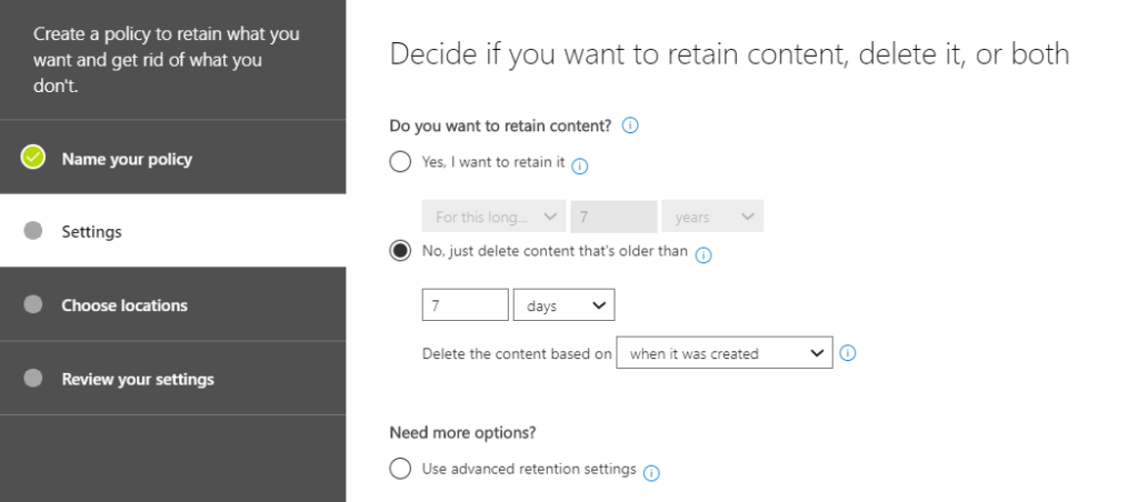 create retention policy options