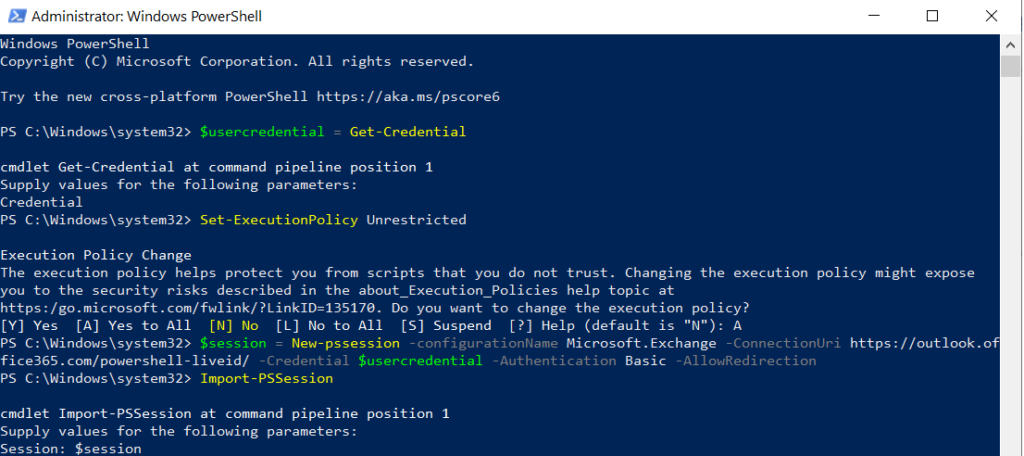 open powershell session