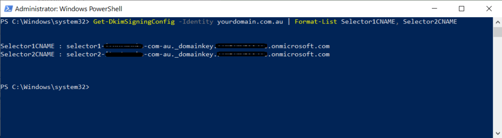 powershell DKIM session keys
