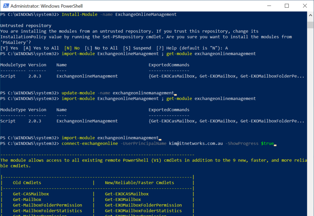 import exchange modules into powershell