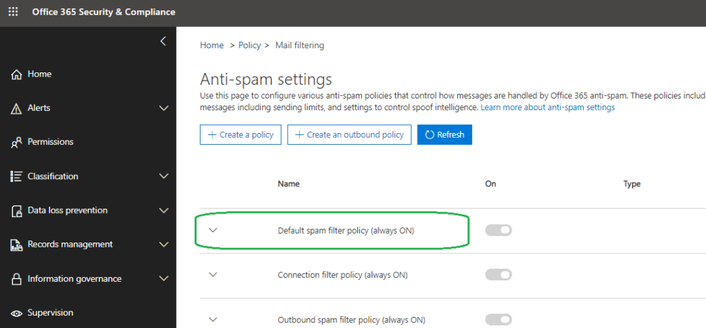 expand anti-spam policy