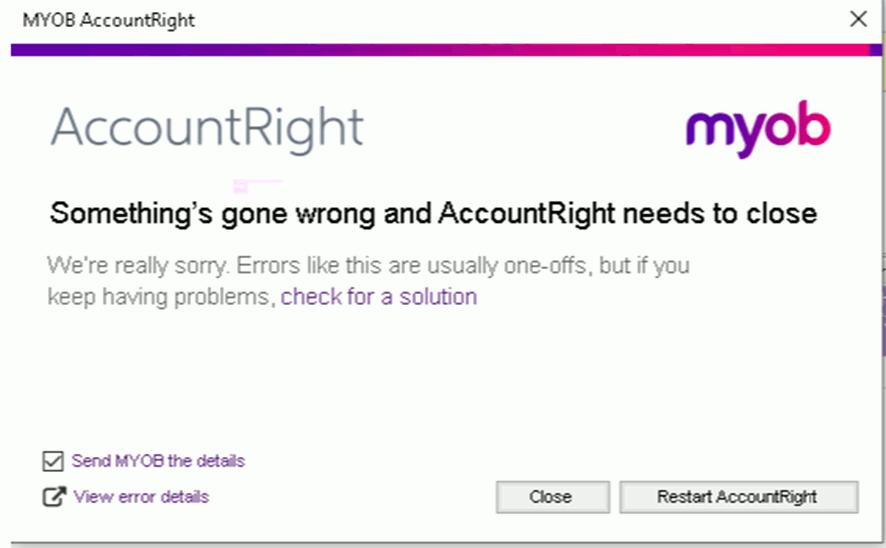 MYOB Email Error