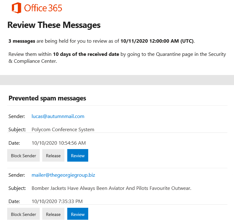 Quarantined Emails