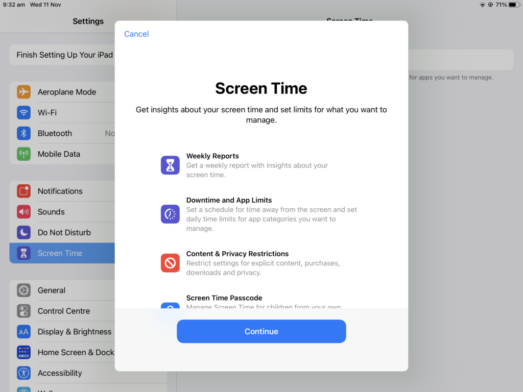 Screen Time option screen