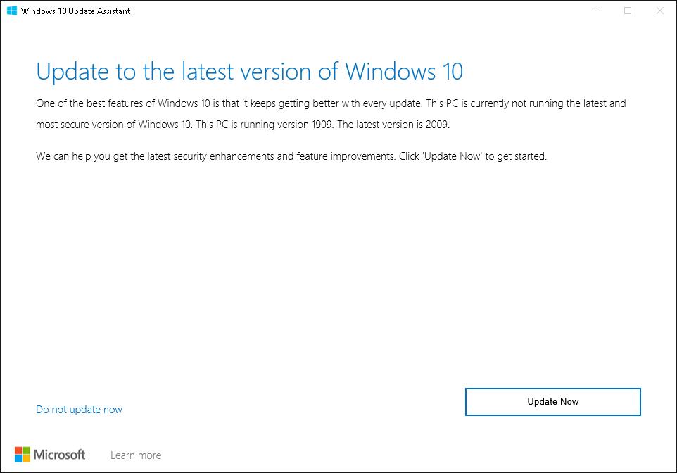 run windows 10 updater