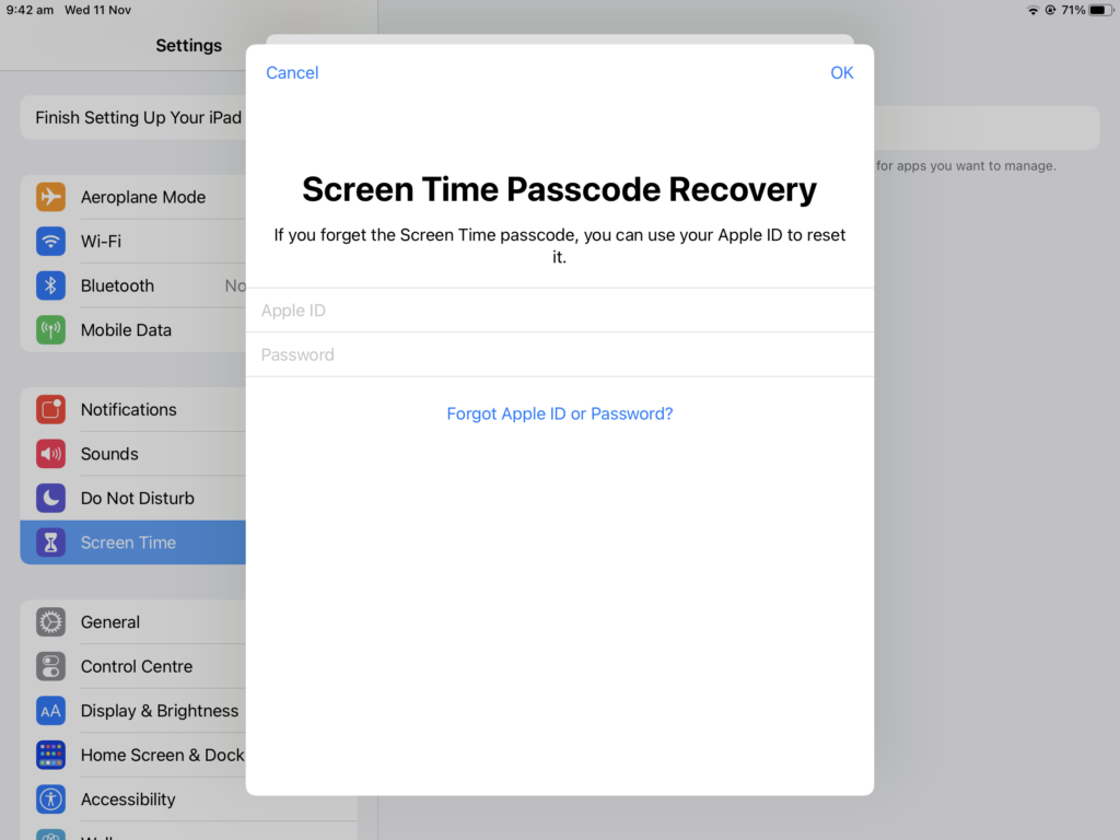 Add your Apple ID for Screen Time passcode recovery