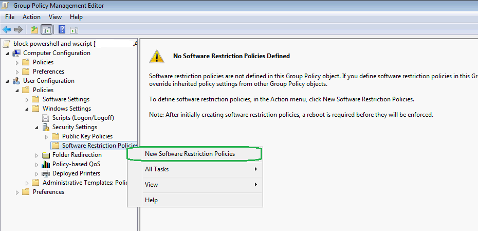 reduce ransomware via software restriction policy