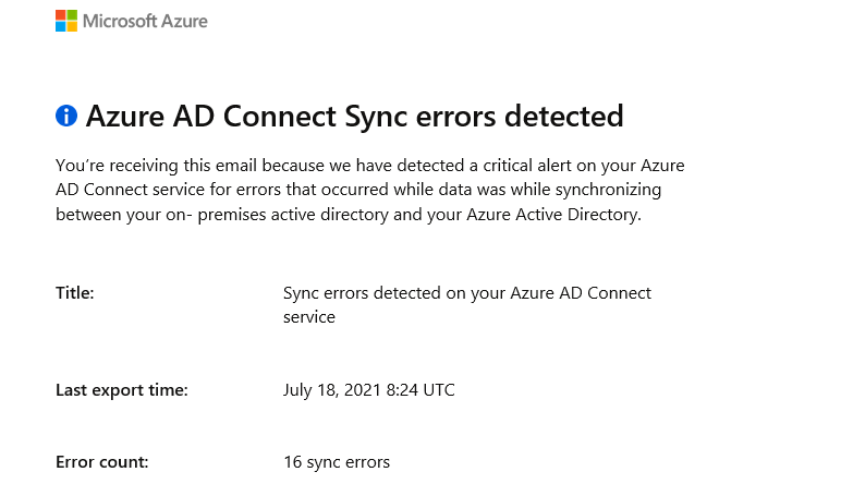 azure sync errors detected